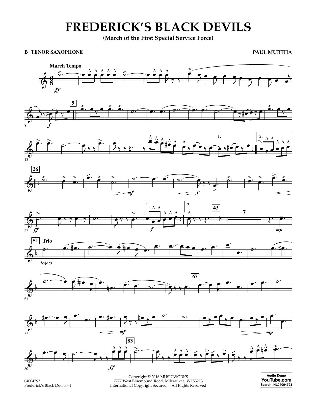 Frederick's Black Devils - Bb Tenor Saxophone (Concert Band)