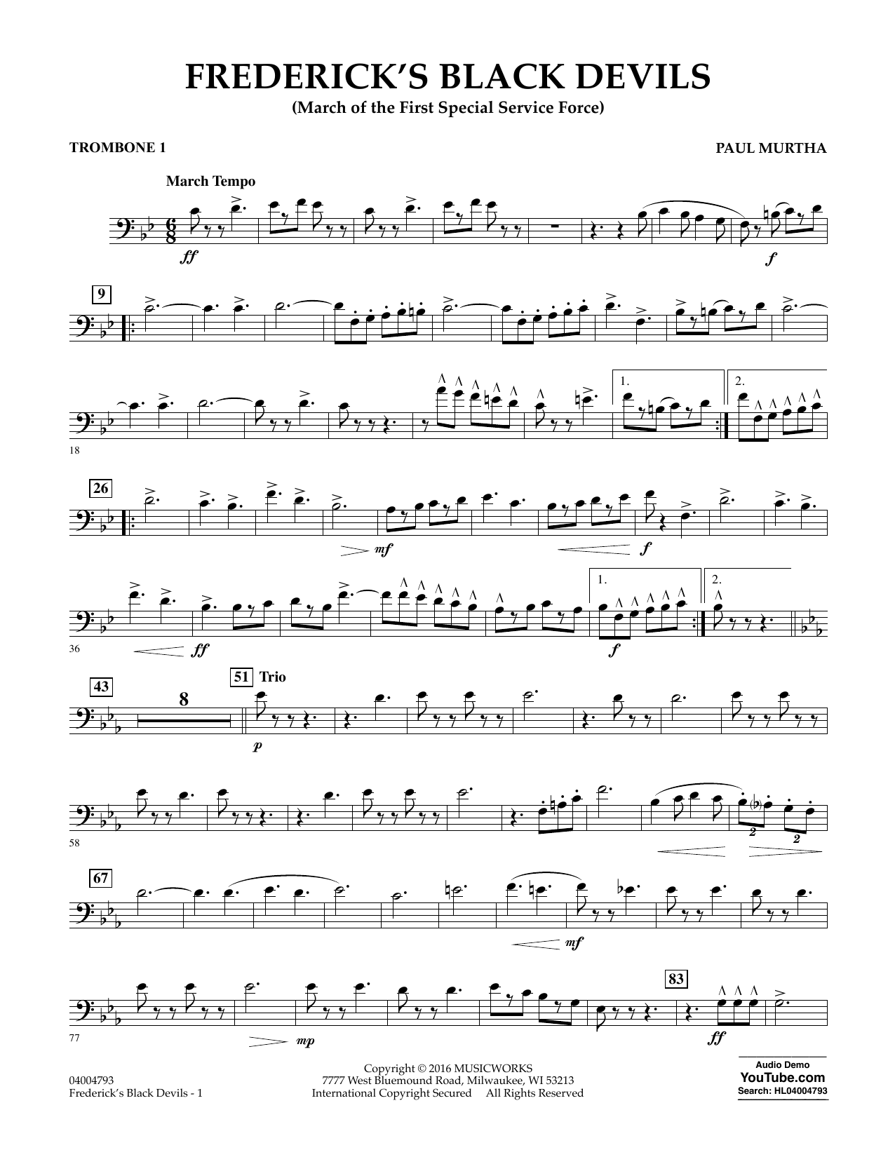 Frederick's Black Devils - Trombone 1 (Concert Band)