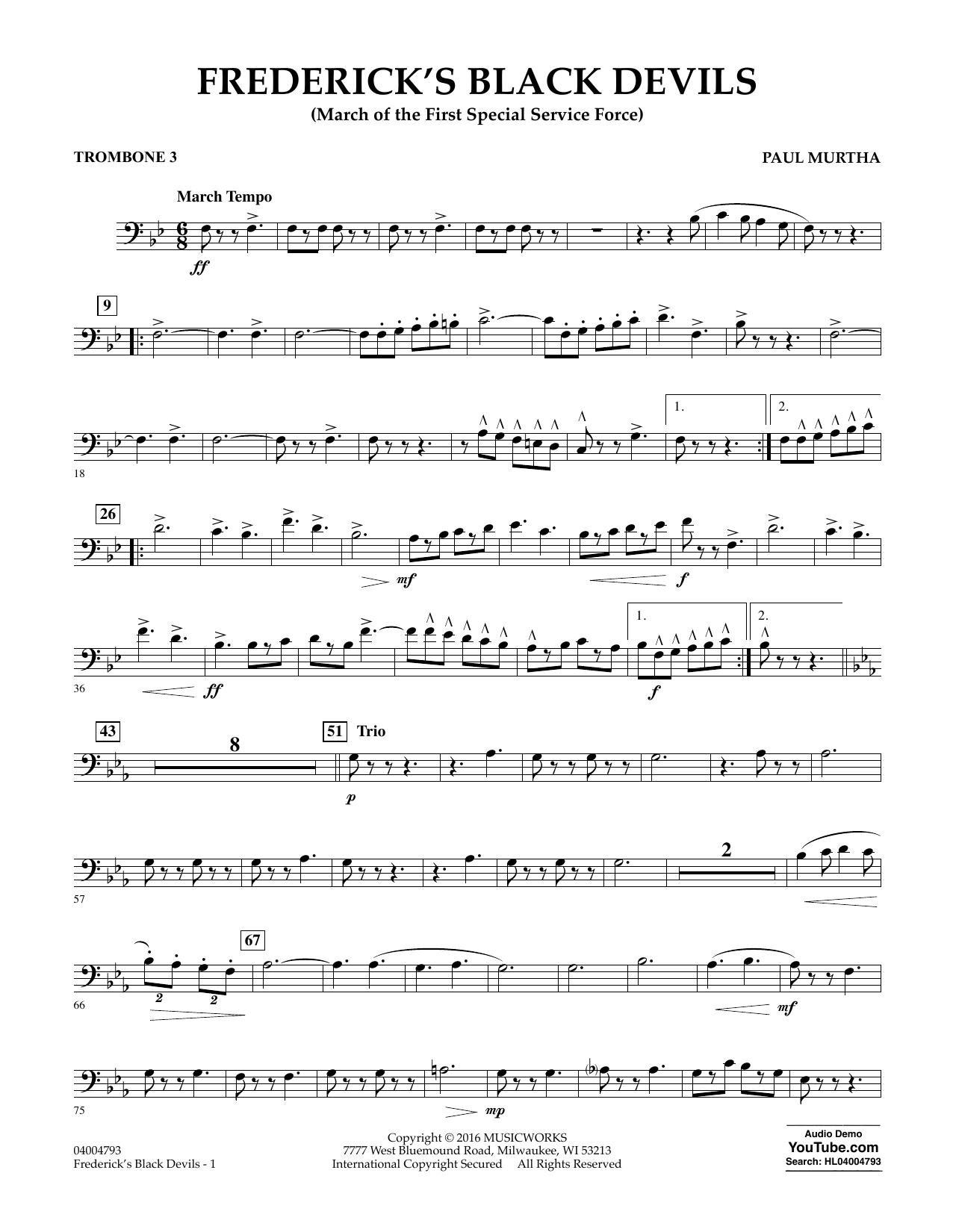 Frederick's Black Devils - Trombone 3 (Concert Band)