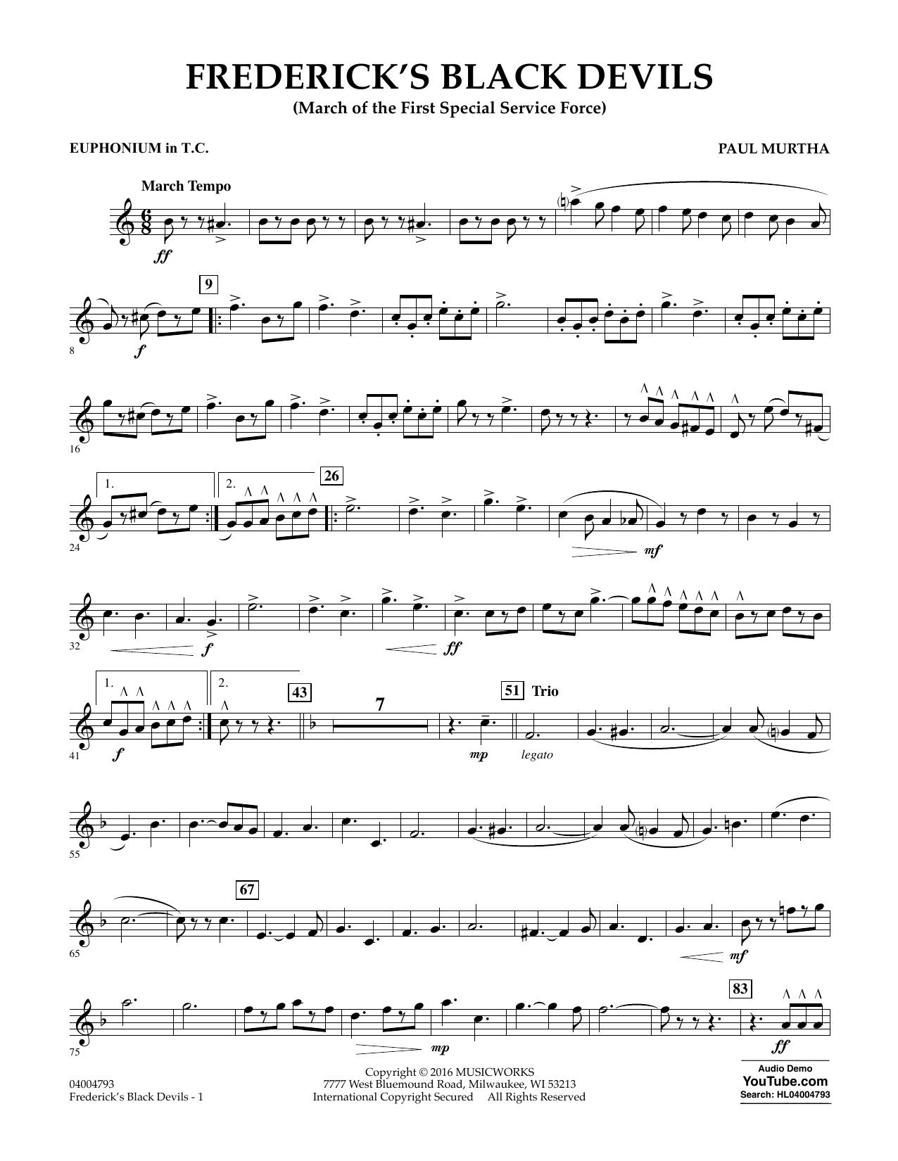 Frederick's Black Devils - Euphonium in Treble Clef (Concert Band)