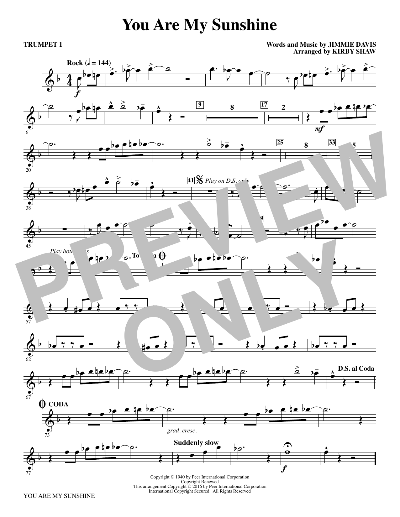 You Are My Sunshine (complete set of parts) sheet music for orchestra/band by Kirby Shaw, Duane Eddy, Jimmie Davis and Ray Charles. Score Image Preview.