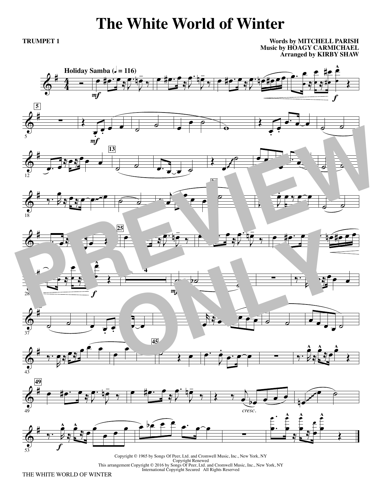 The White World of Winter (complete set of parts) sheet music for orchestra/band by Kirby Shaw, Hoagy Carmichael and Mitchell Parish. Score Image Preview.