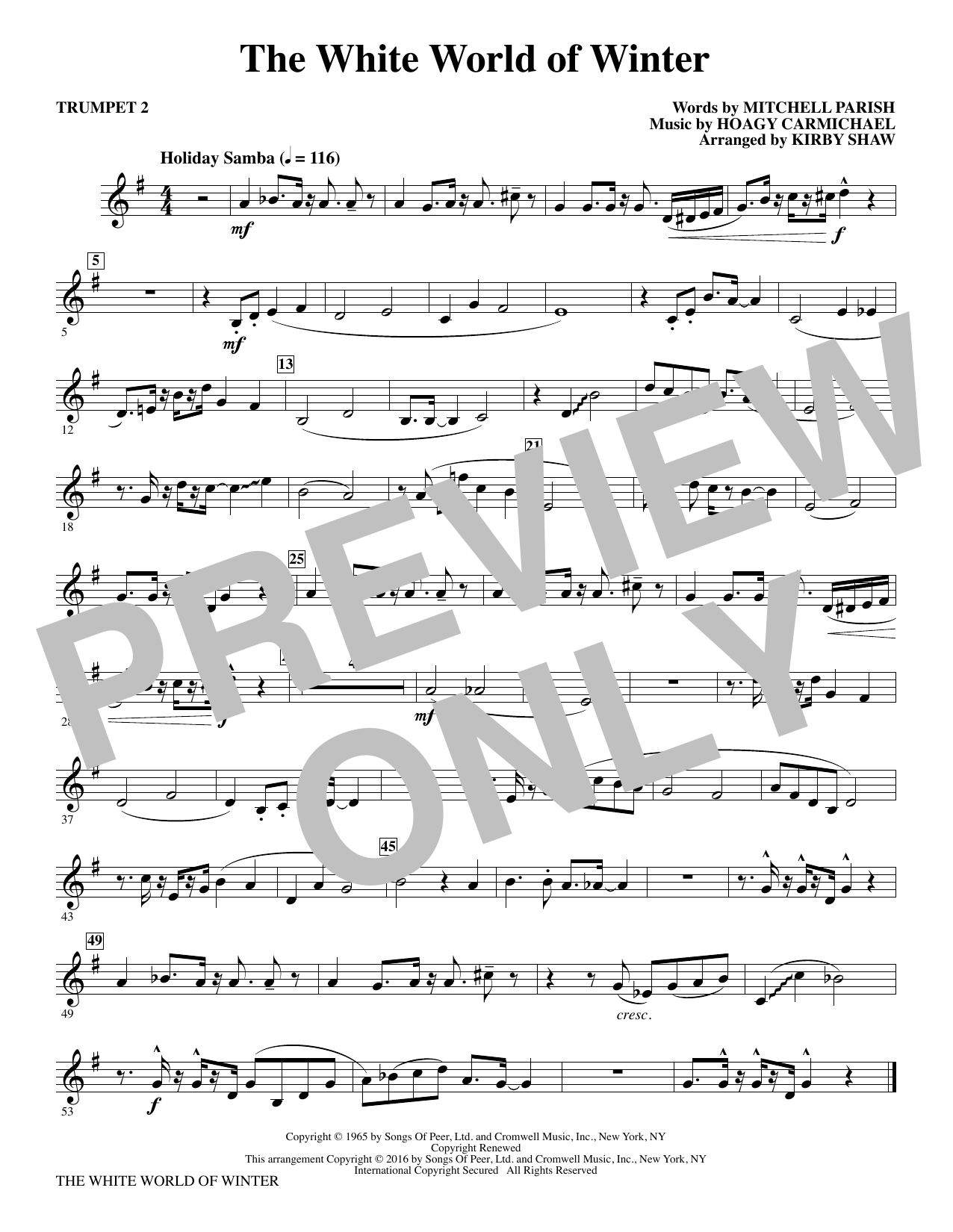 The White World of Winter - Trumpet 2 Sheet Music