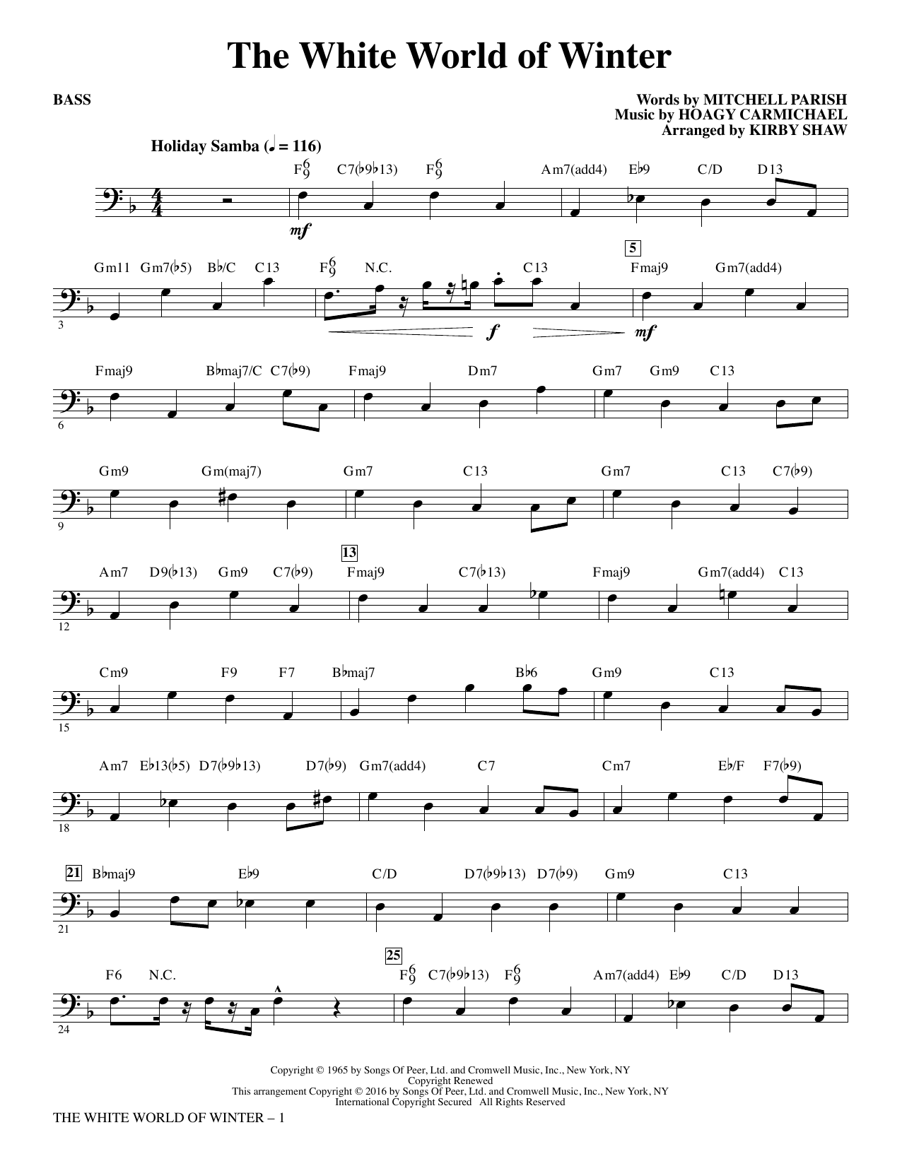 The White World of Winter - Bass Sheet Music
