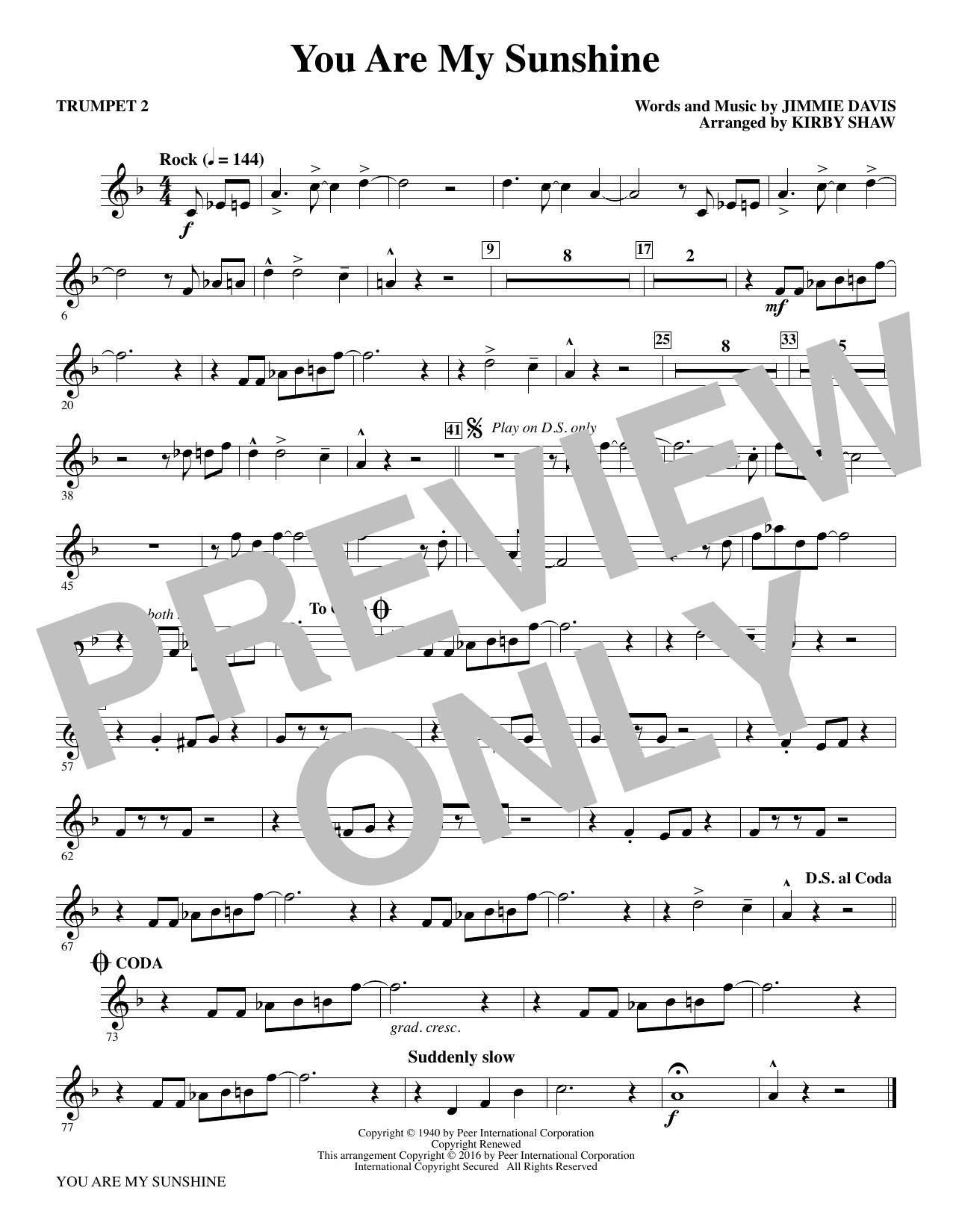 You Are My Sunshine - Bb Trumpet 2 (Choir Instrumental Pak)