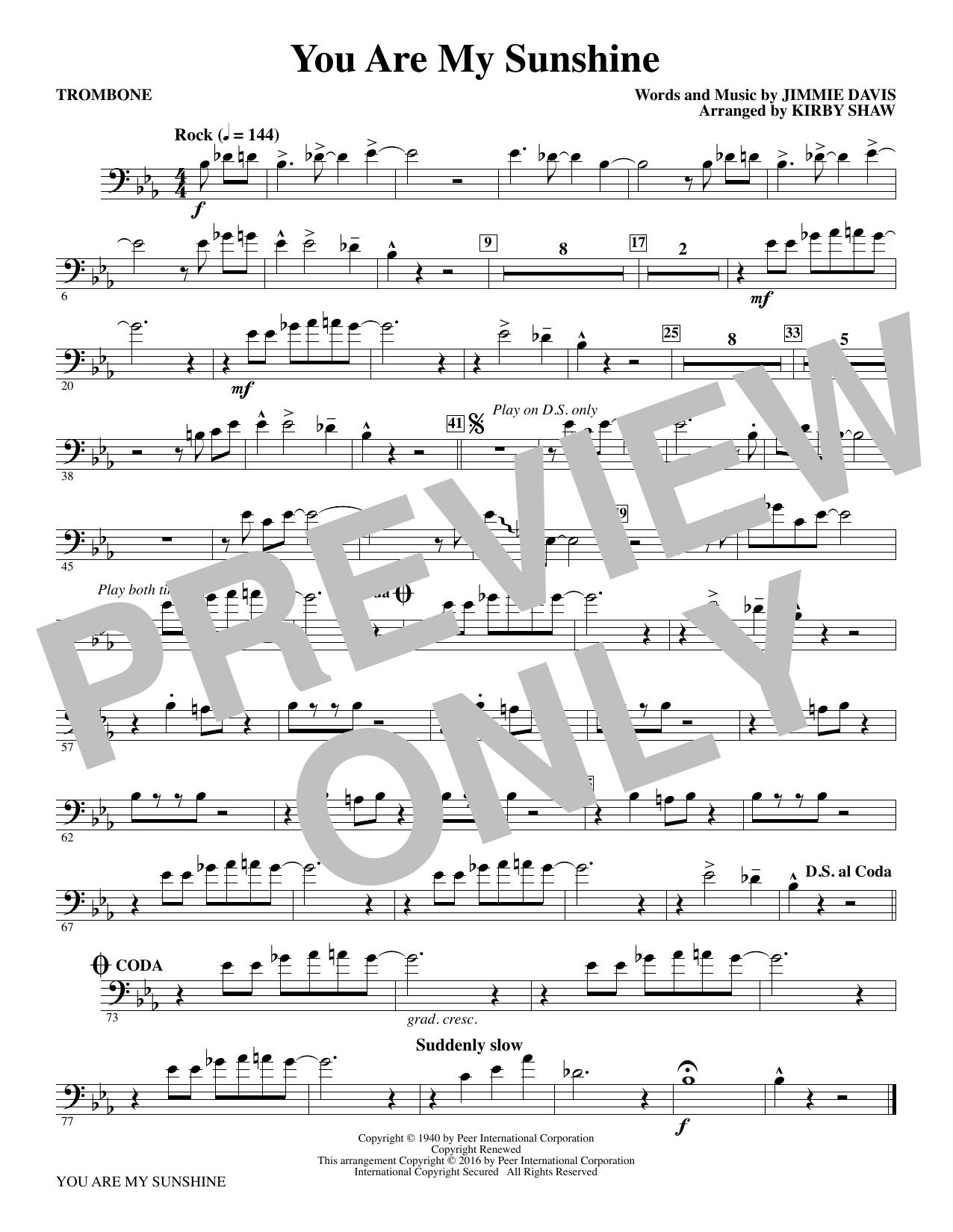 You Are My Sunshine - Trombone (Choir Instrumental Pak)