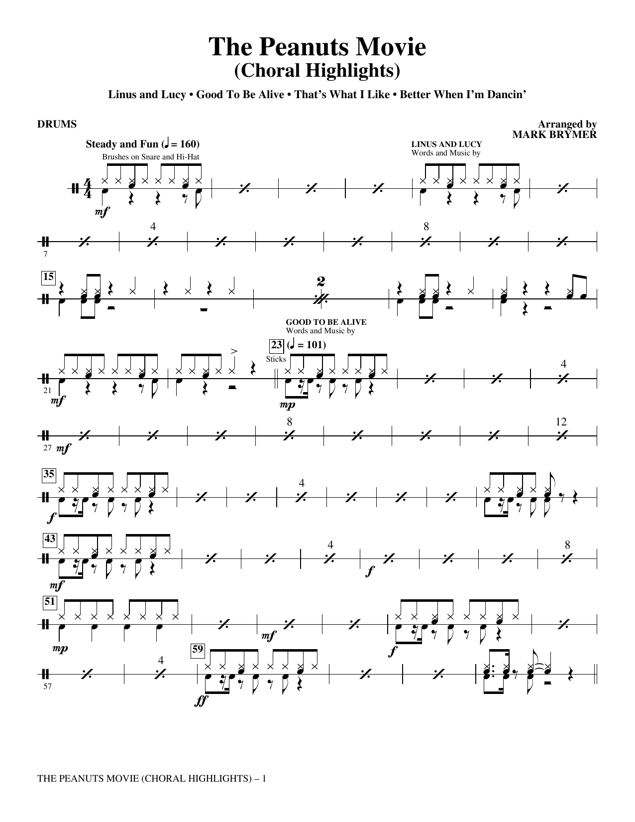 The Peanuts Movie - Drums Sheet Music
