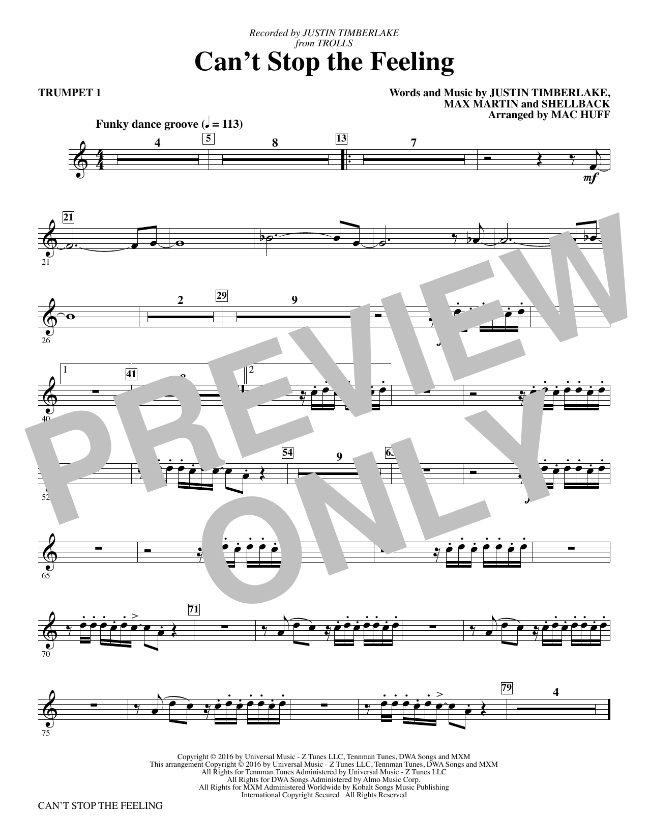 Can't Stop the Feeling - Bb Trumpet 1 by Mac Huff Choir Instrumental Pak  Digital Sheet Music