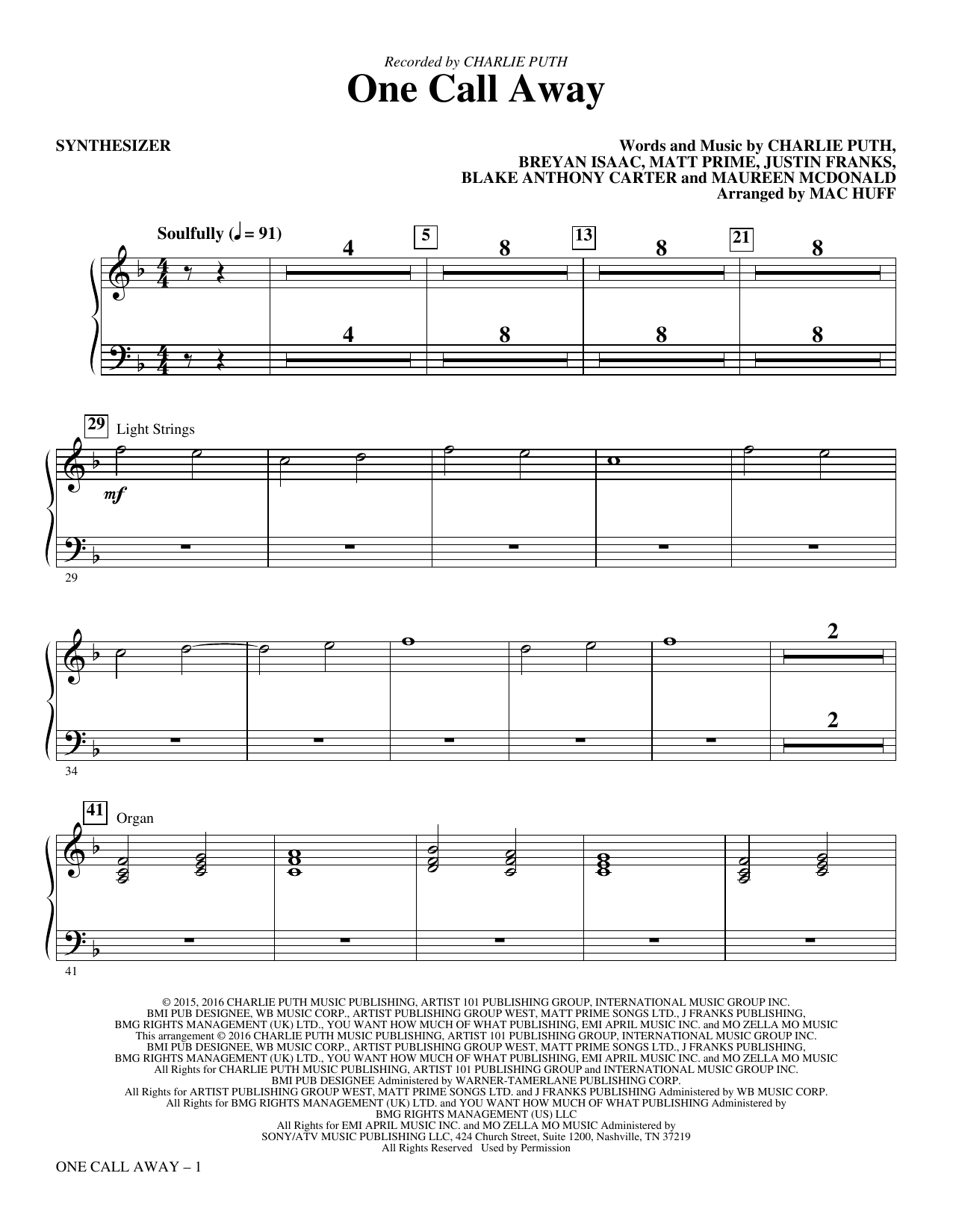One Call Away (complete set of parts) sheet music for orchestra/band by Maureen McDonald, Breyan Isaac, Charlie Puth, Justin Franks, Mac Huff and Matt Prime. Score Image Preview.