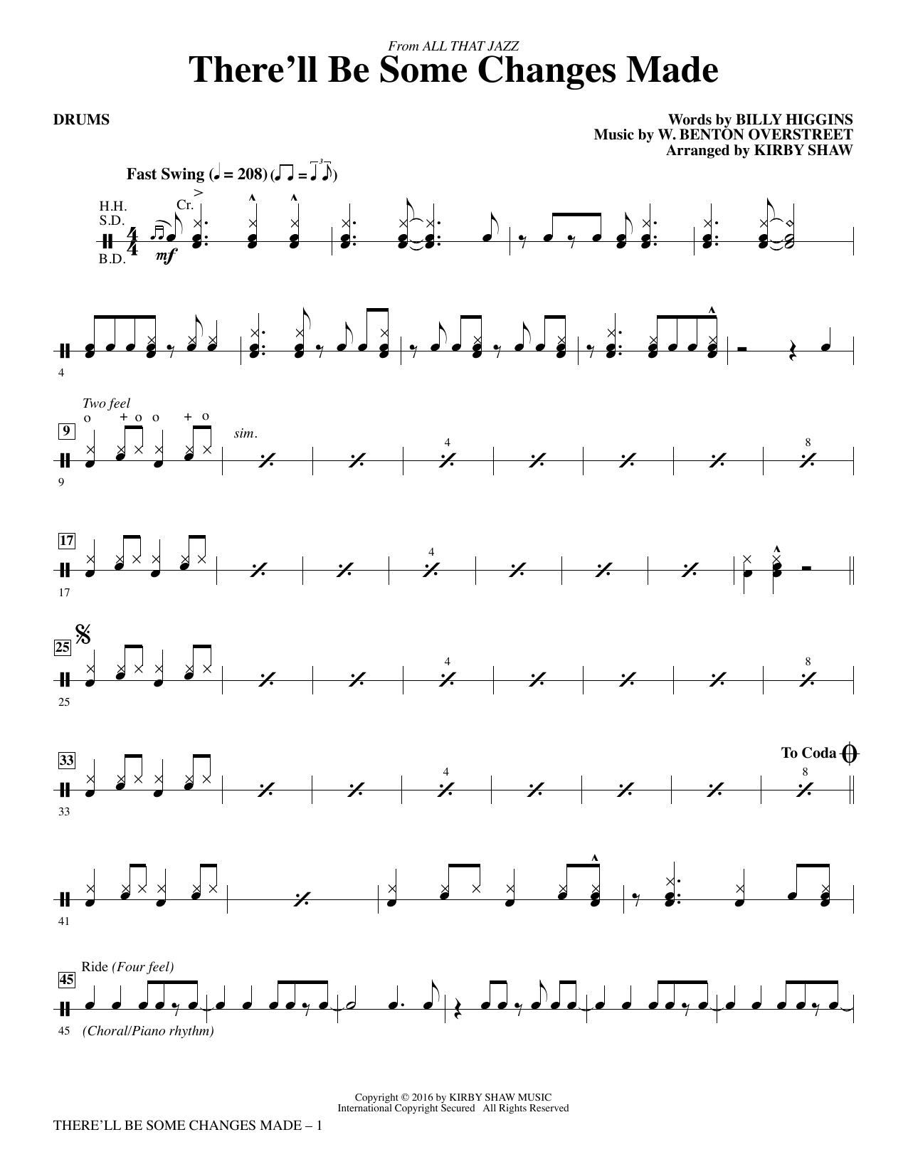 There'll Be Some Changes Made - Drums Sheet Music