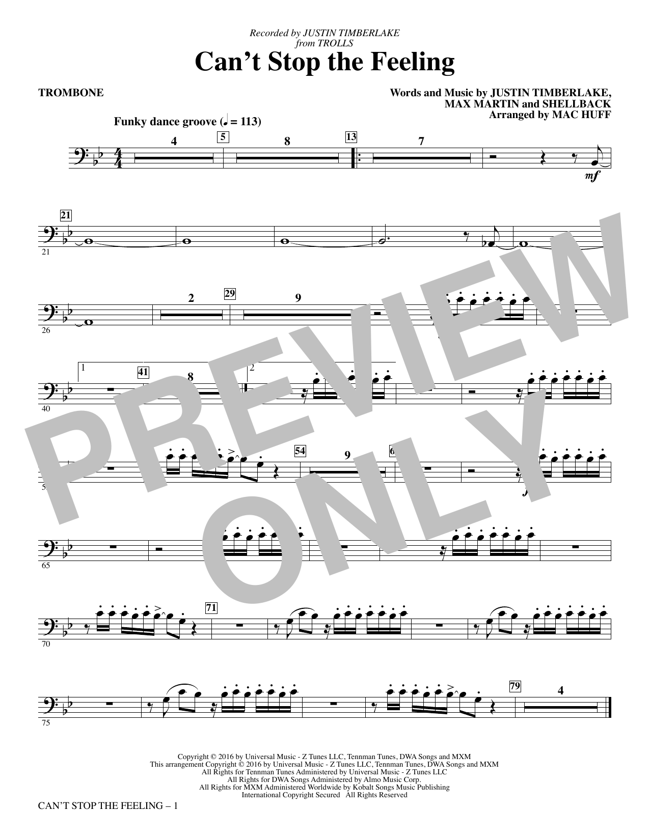 Can't Stop the Feeling (from Trolls) (arr. Mac Huff) - Trombone (Choir Instrumental Pak)