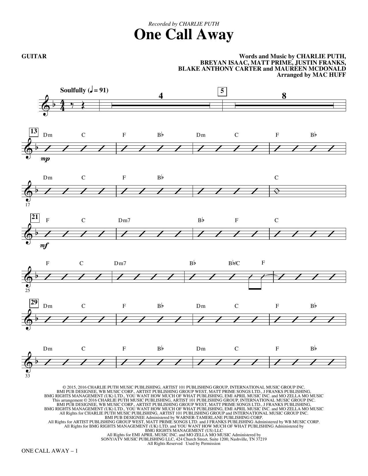 One Call Away - Guitar Sheet Music