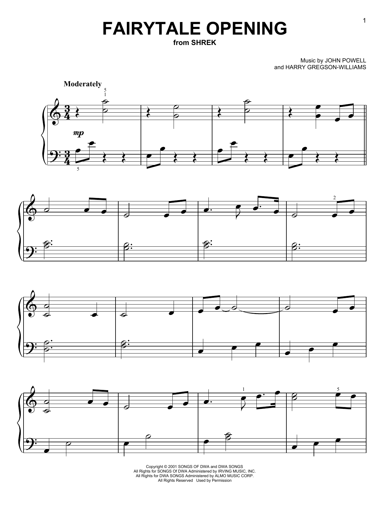 Fairytale Opening Sheet Music