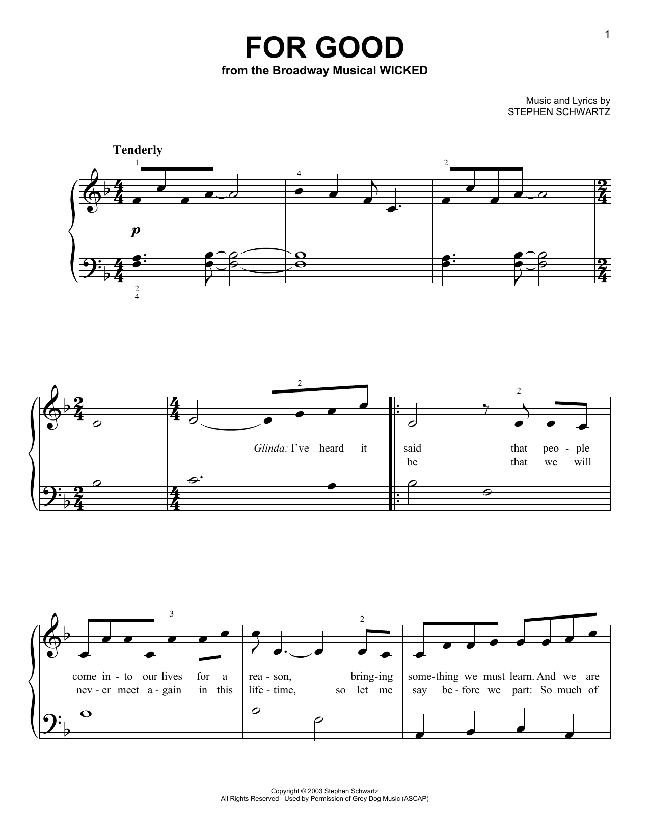 For Good Sheet Music