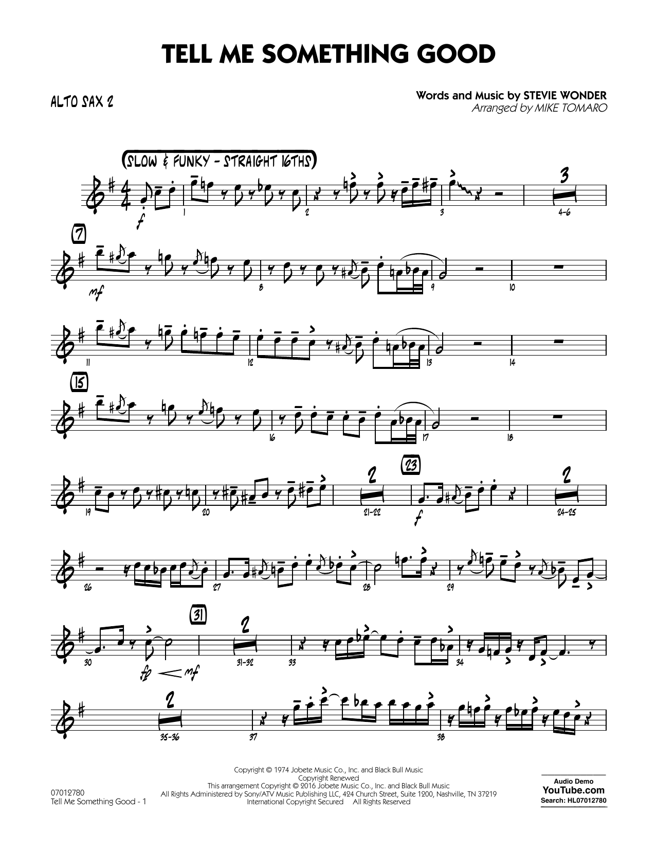 Tell Me Something Good - Alto Sax 2 (Jazz Ensemble)