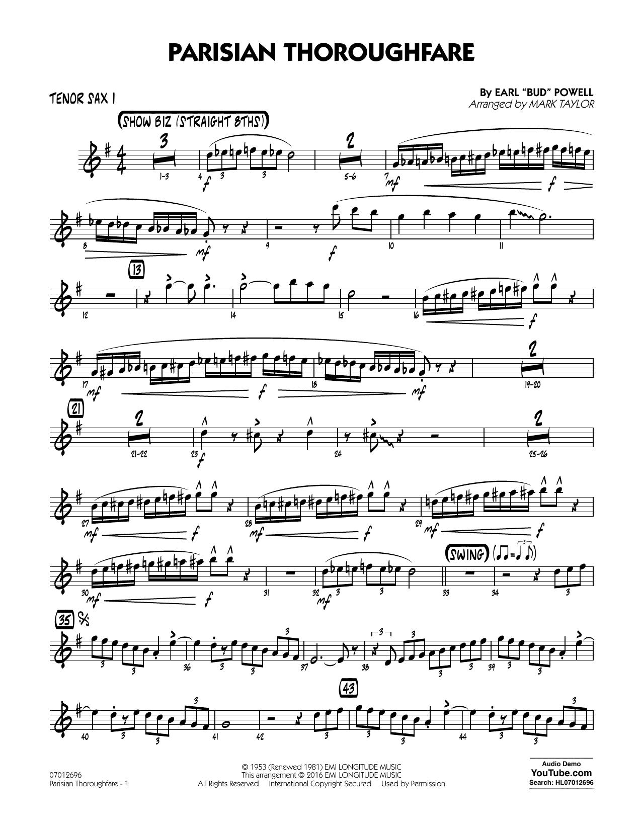 Parisian Thoroughfare - Tenor Sax 1 (Jazz Ensemble)