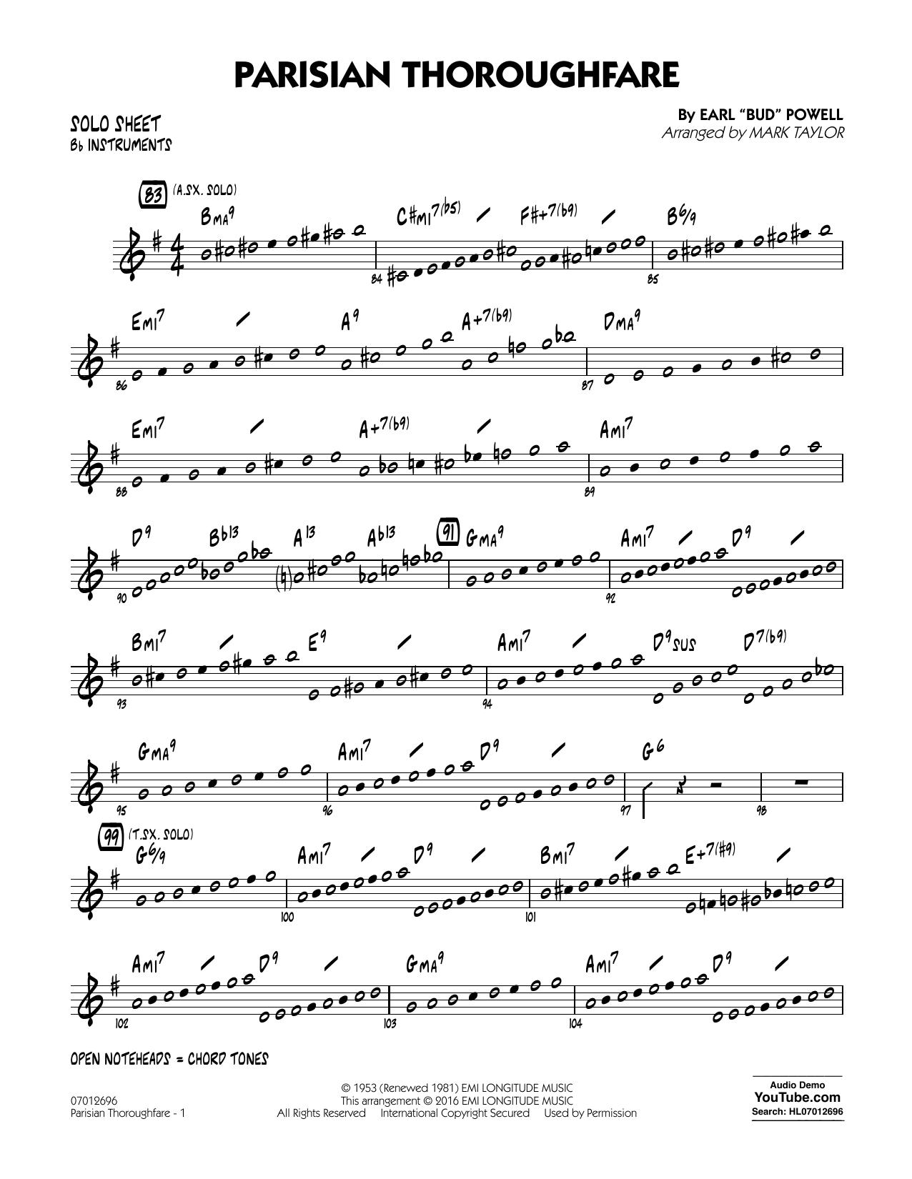 Parisian Thoroughfare - Bb Solo Sheet (Jazz Ensemble)