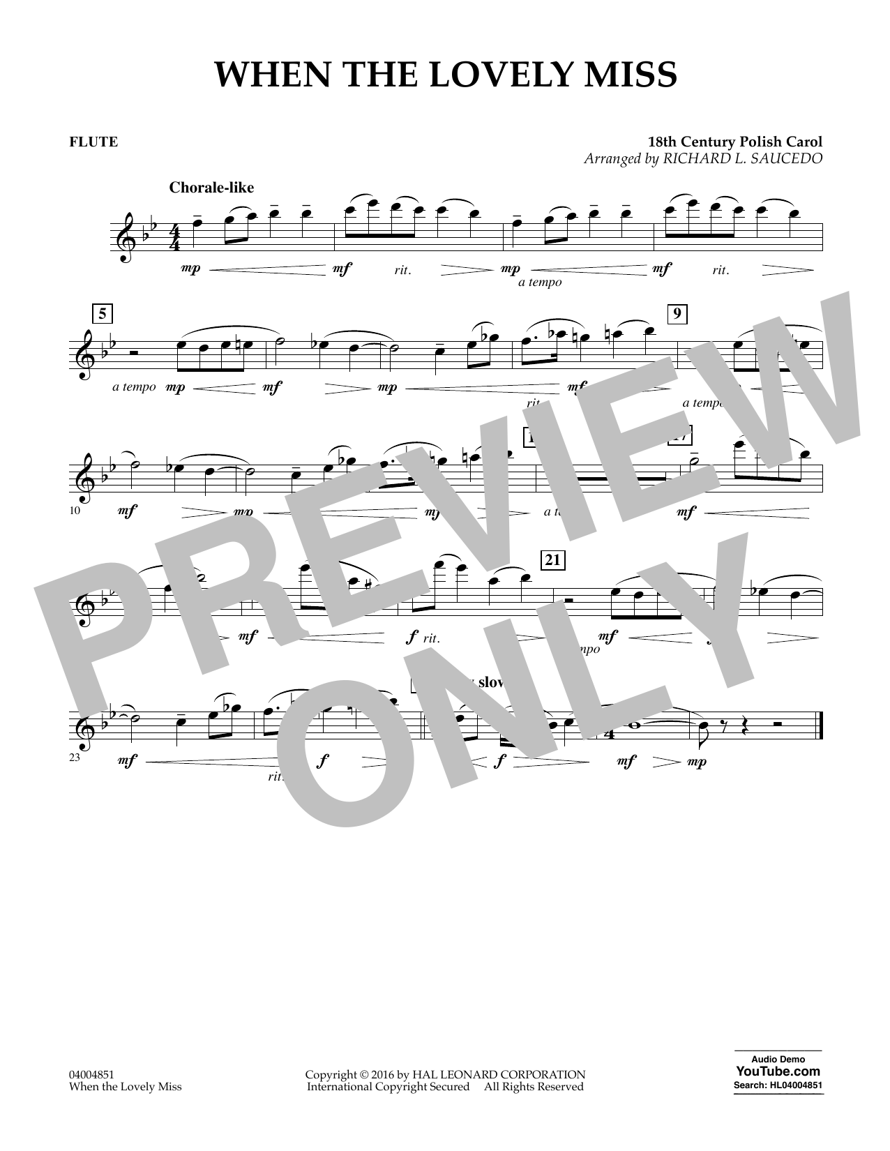 When the Lovely Miss (18th Century Polish Carol) - Flute (Concert Band)