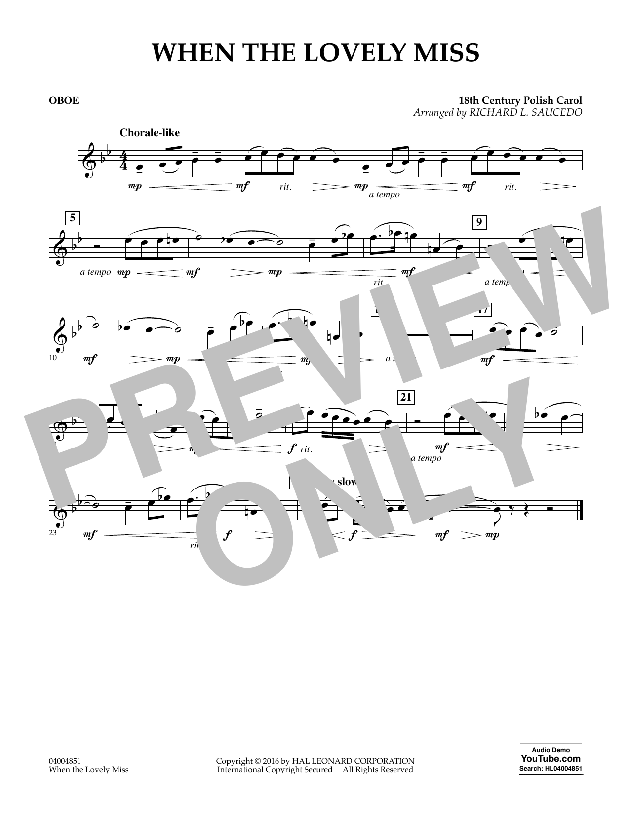 When the Lovely Miss (18th Century Polish Carol) - Oboe (Concert Band)