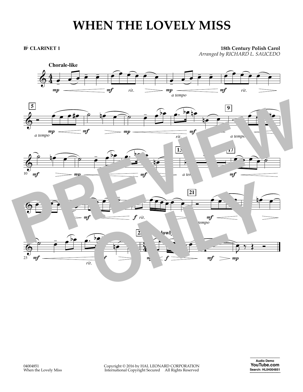 When the Lovely Miss (18th Century Polish Carol) - Bb Clarinet 1 (Concert Band)