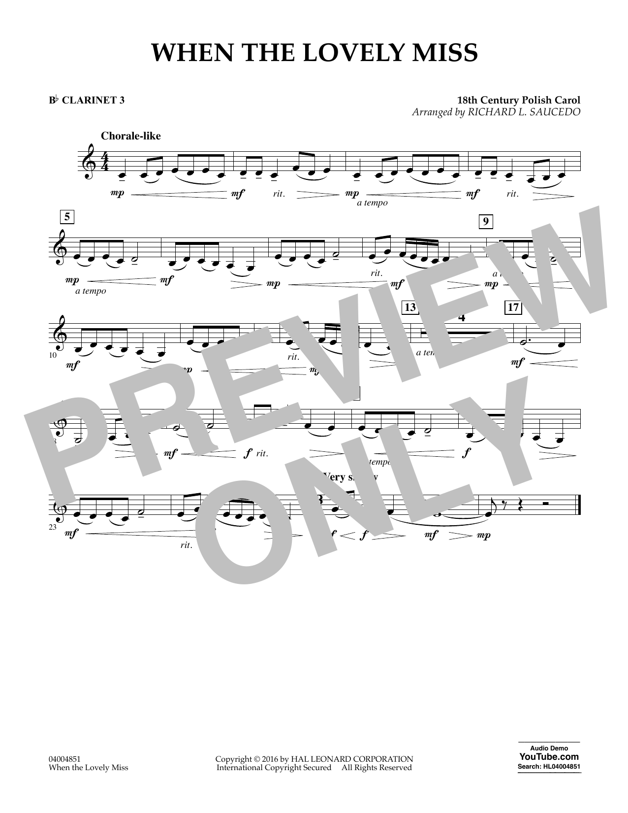 When the Lovely Miss (18th Century Polish Carol) - Bb Clarinet 3 (Concert Band)