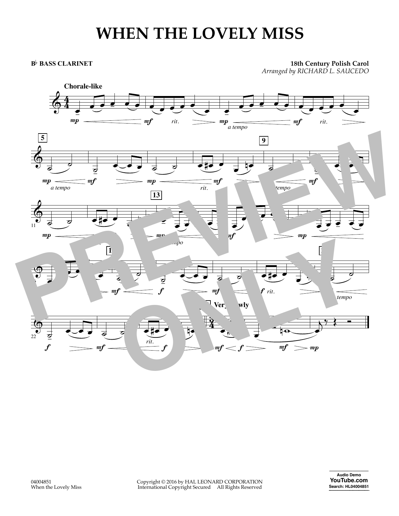 When the Lovely Miss (18th Century Polish Carol) - Bb Bass Clarinet (Concert Band)