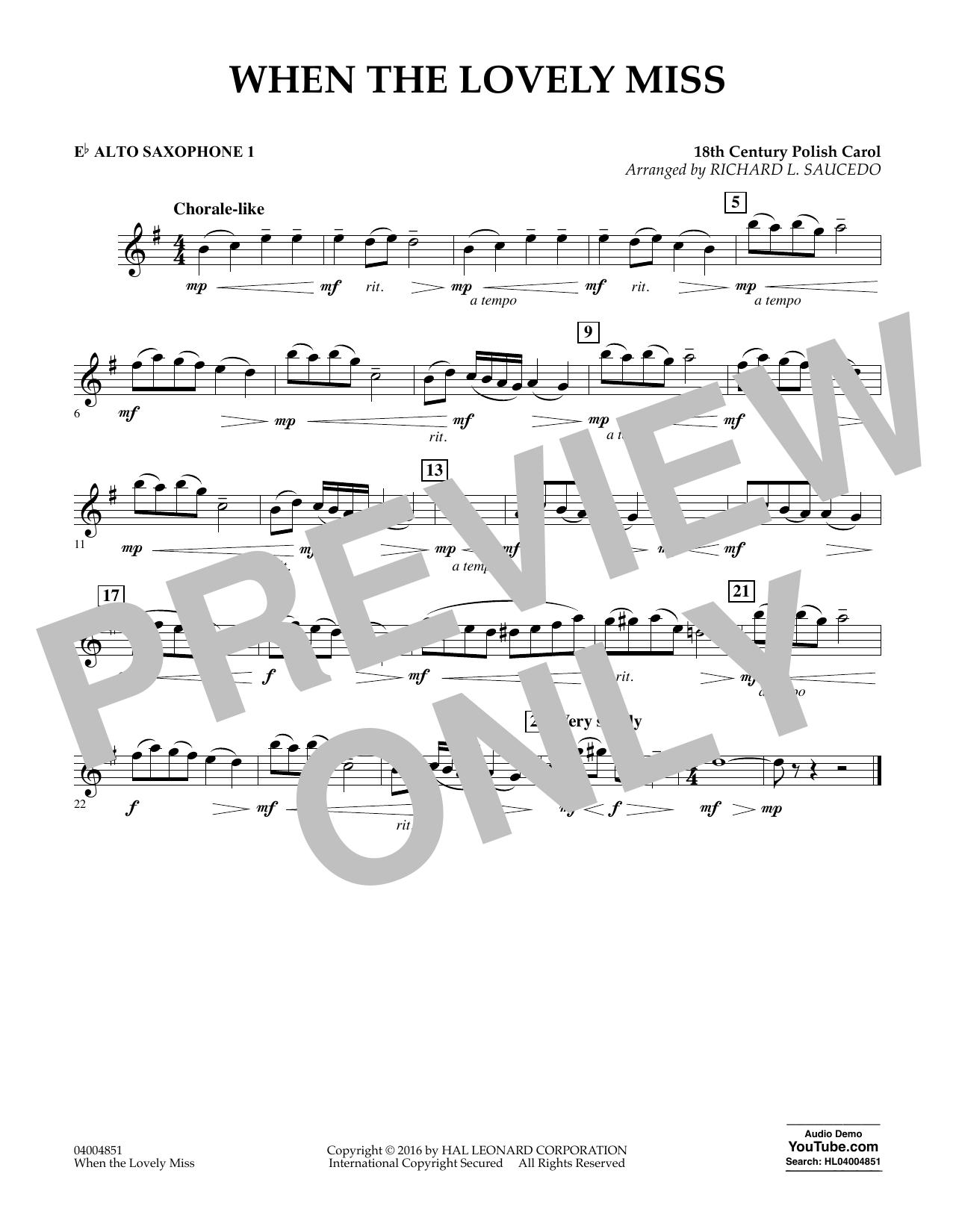 When the Lovely Miss (18th Century Polish Carol) - Eb Alto Saxophone 1 (Concert Band)