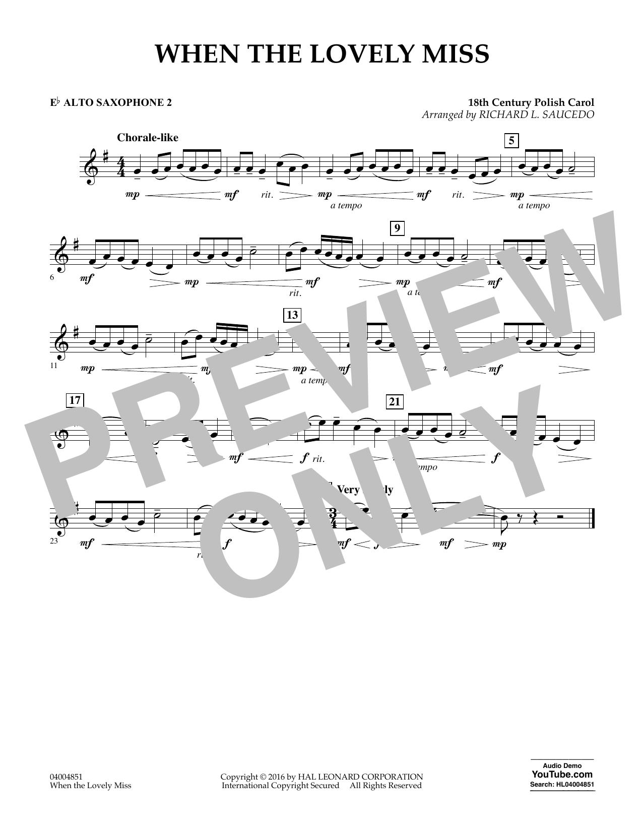 When the Lovely Miss (18th Century Polish Carol) - Eb Alto Saxophone 2 (Concert Band)