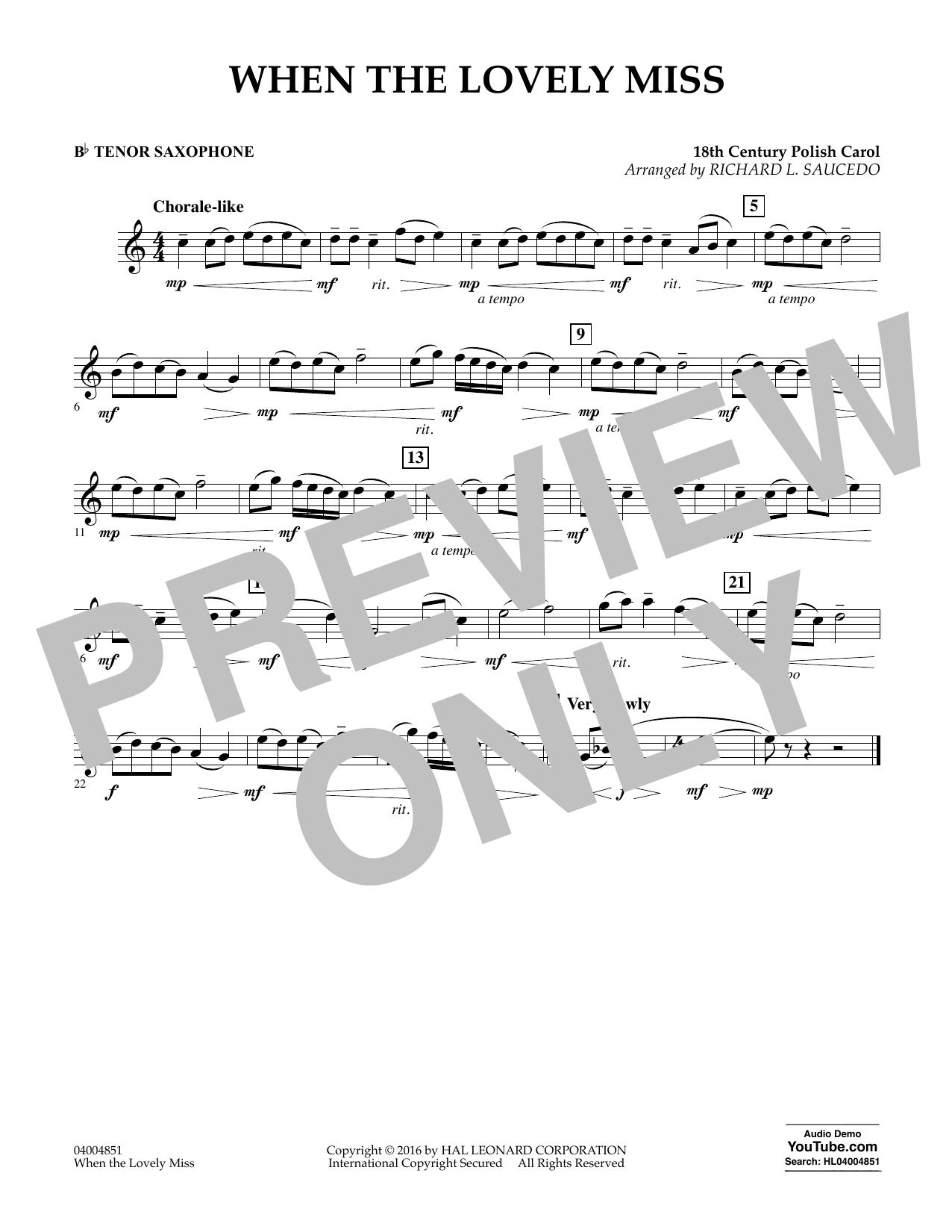 When the Lovely Miss (18th Century Polish Carol) - Bb Tenor Saxophone (Concert Band)