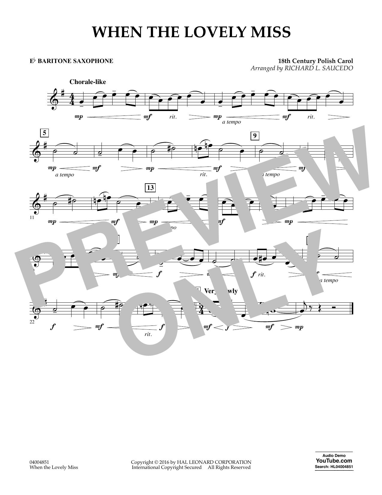 When the Lovely Miss (18th Century Polish Carol) - Eb Baritone Saxophone (Concert Band)
