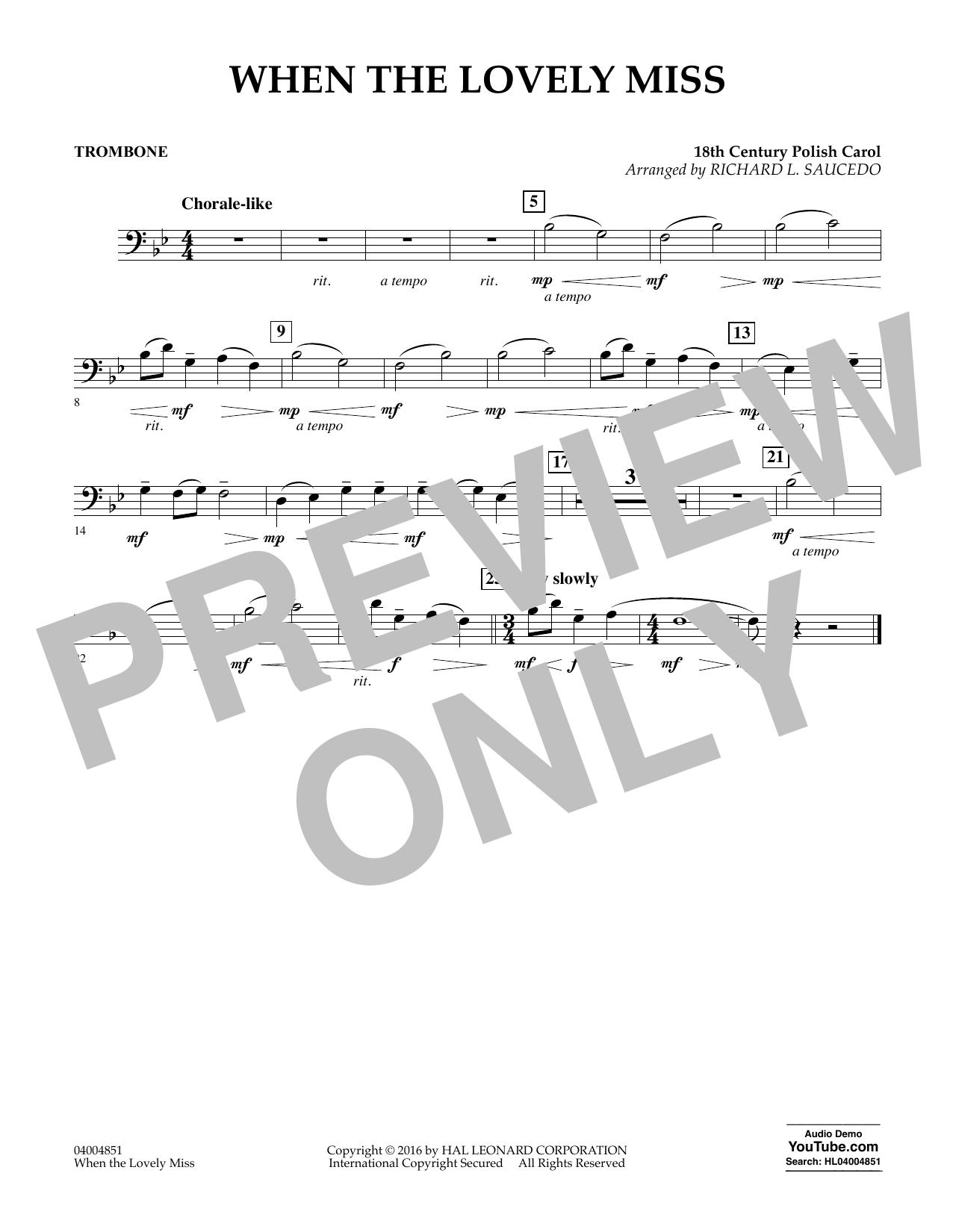 When the Lovely Miss (18th Century Polish Carol) - Trombone (Concert Band)