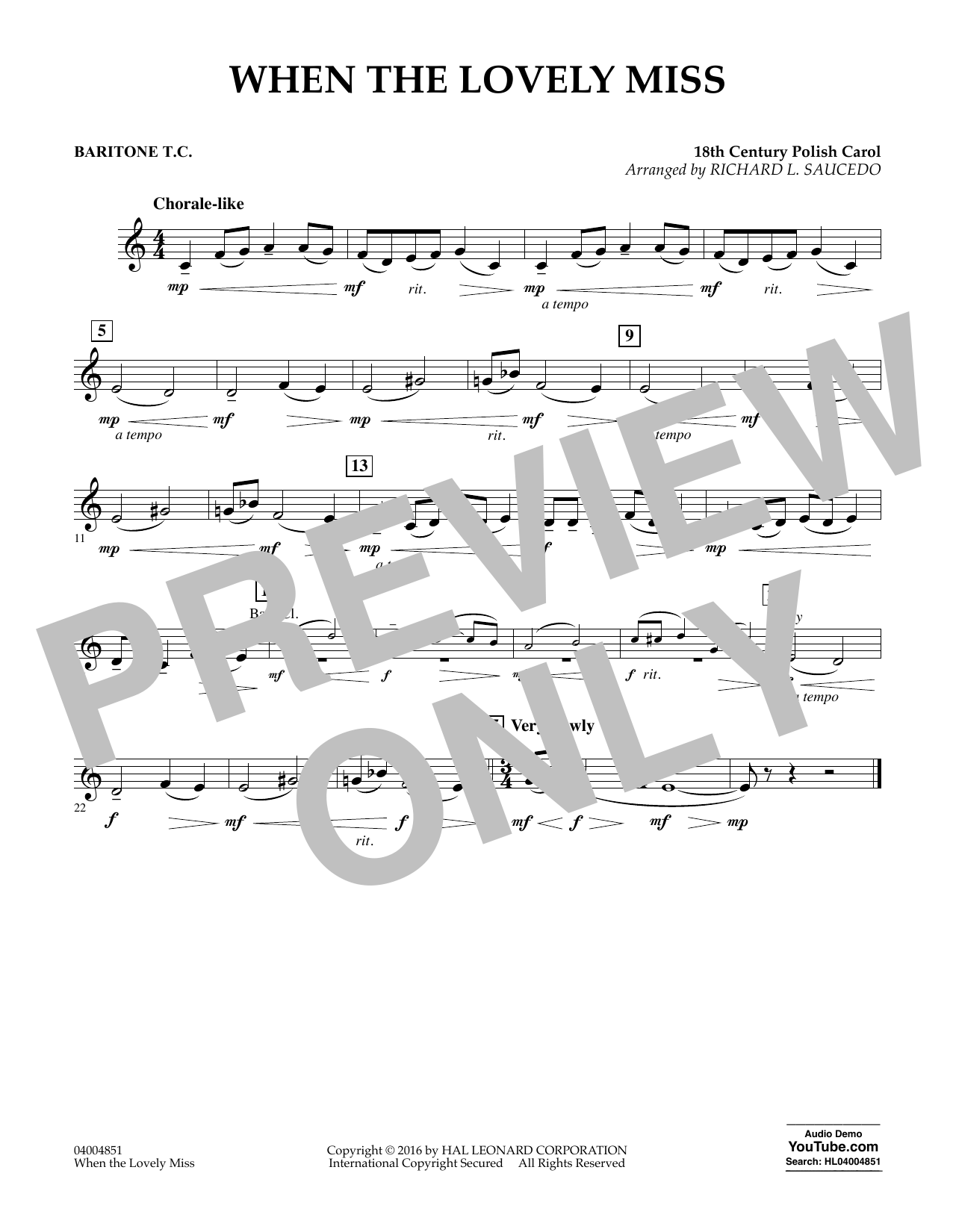 When the Lovely Miss (18th Century Polish Carol) - Baritone T.C. (Concert Band)