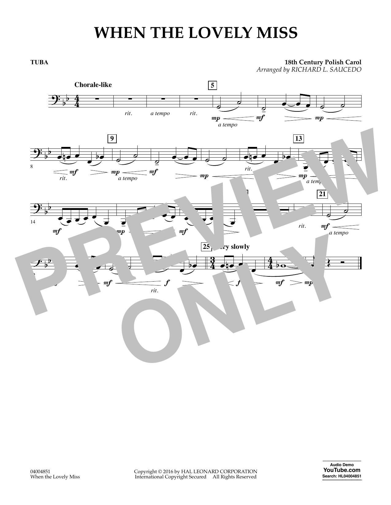When the Lovely Miss (18th Century Polish Carol) - Tuba (Concert Band)
