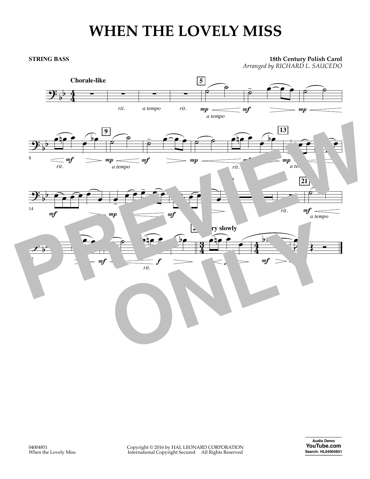 When the Lovely Miss (18th Century Polish Carol) - Bass (Concert Band)