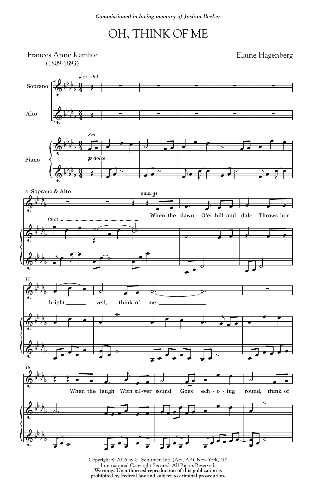 Oh, Think Of Me Sheet Music