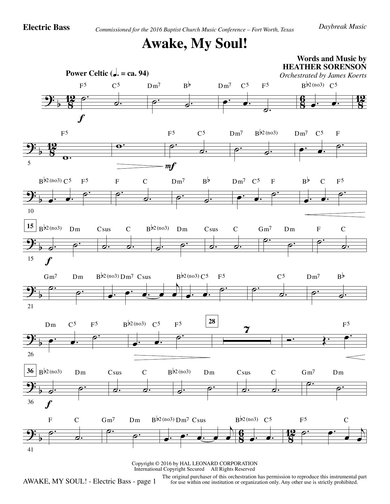 Awake, My Soul! - Electric Bass (Choir Instrumental Pak)