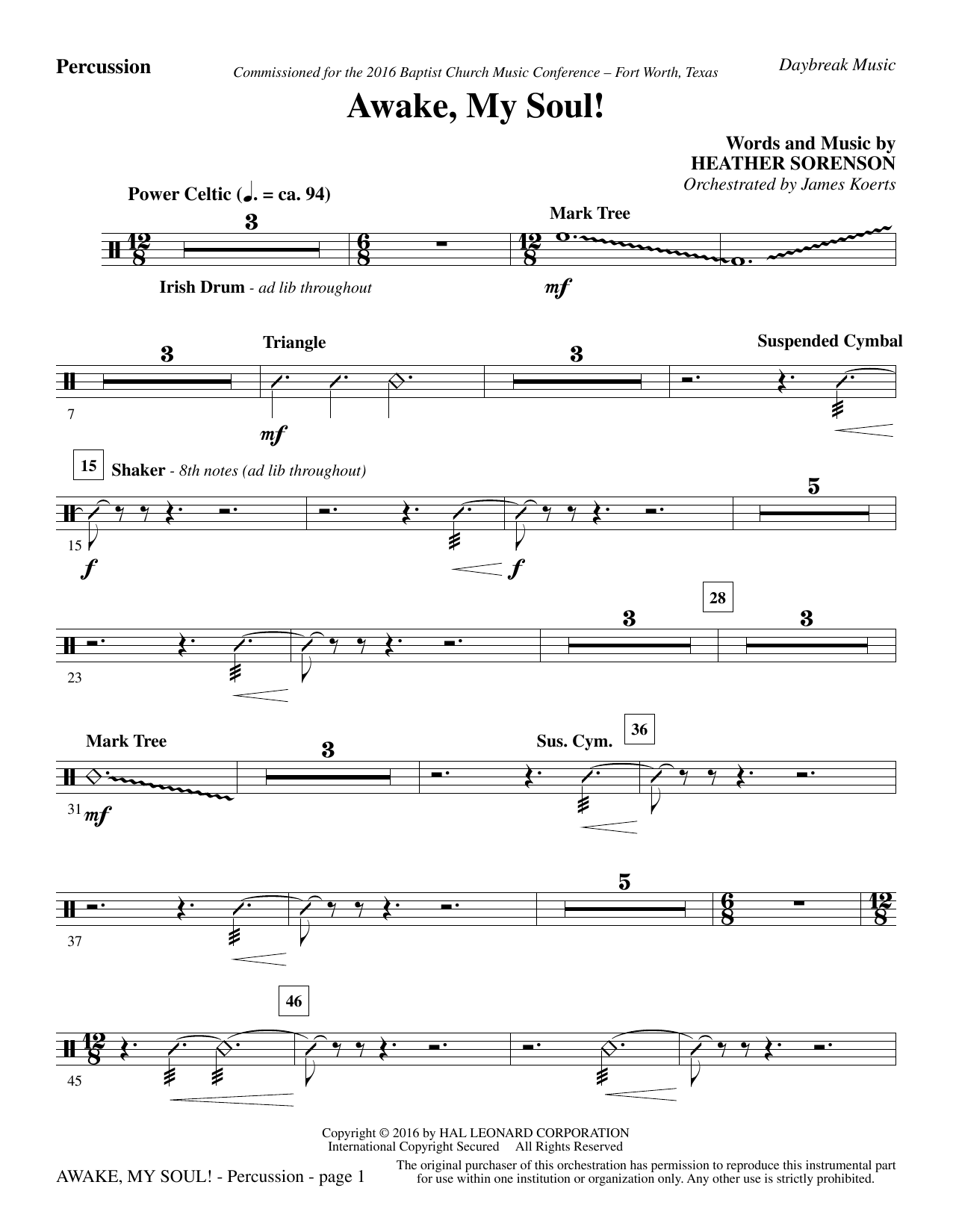 Awake, My Soul! - Percussion (Choir Instrumental Pak)