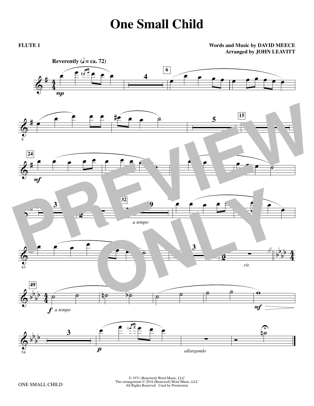One Small Child - Flute 1 Sheet Music
