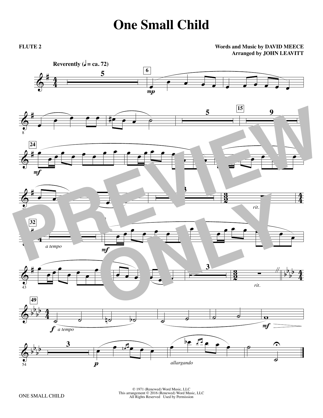 One Small Child - Flute 2 Sheet Music