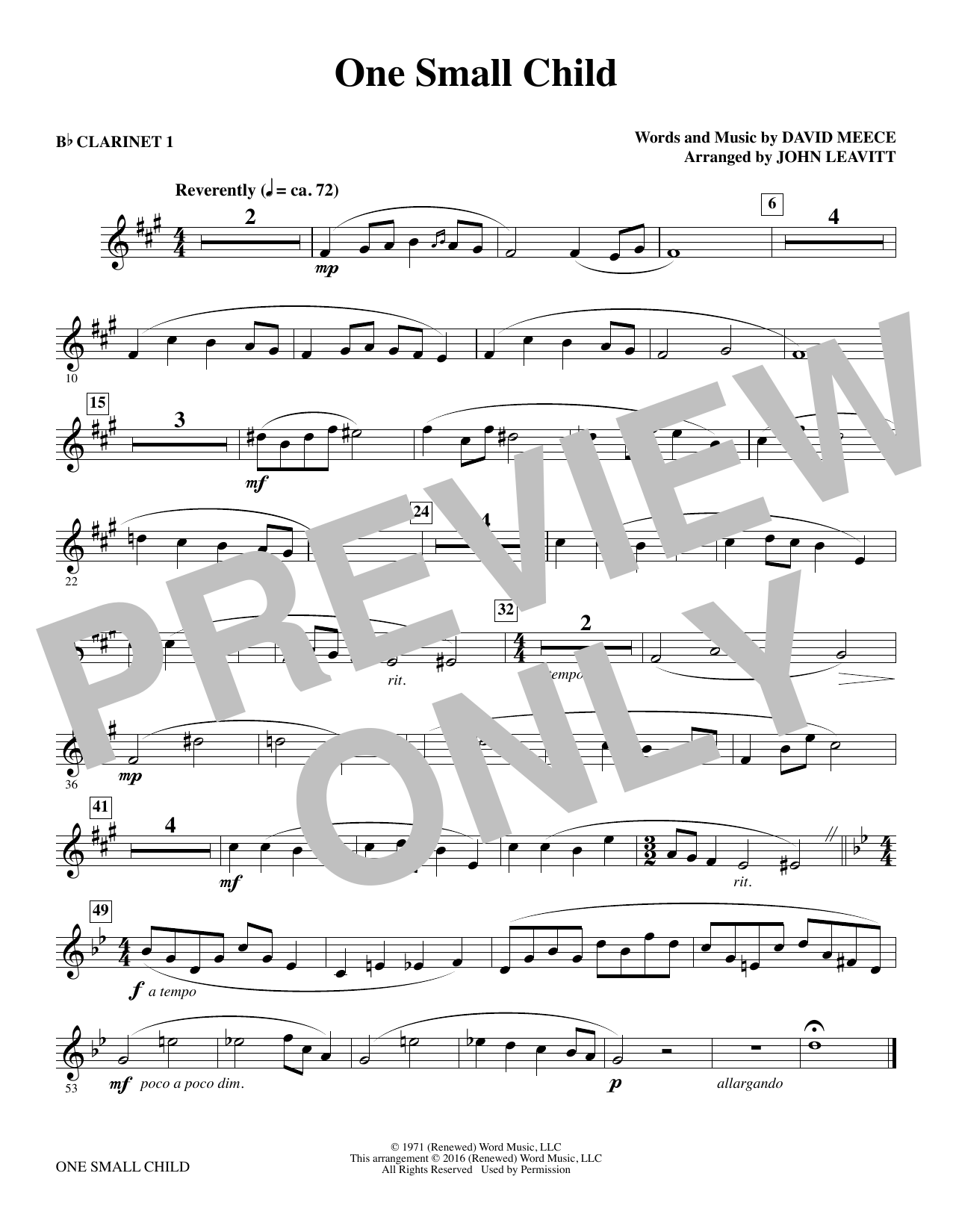 One Small Child - Bb Clarinet 1 (Choir Instrumental Pak)