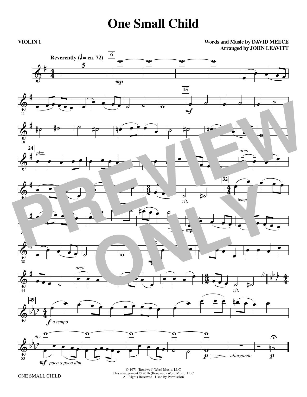 One Small Child - Violin 1 Sheet Music