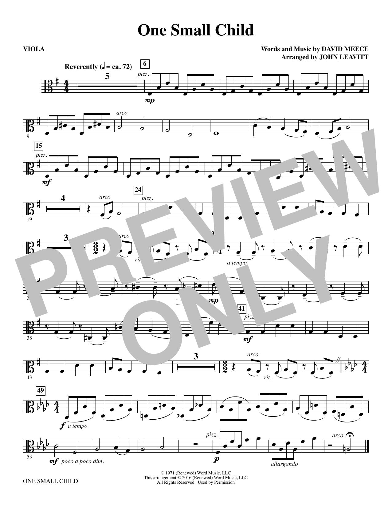One Small Child - Viola (Choir Instrumental Pak)