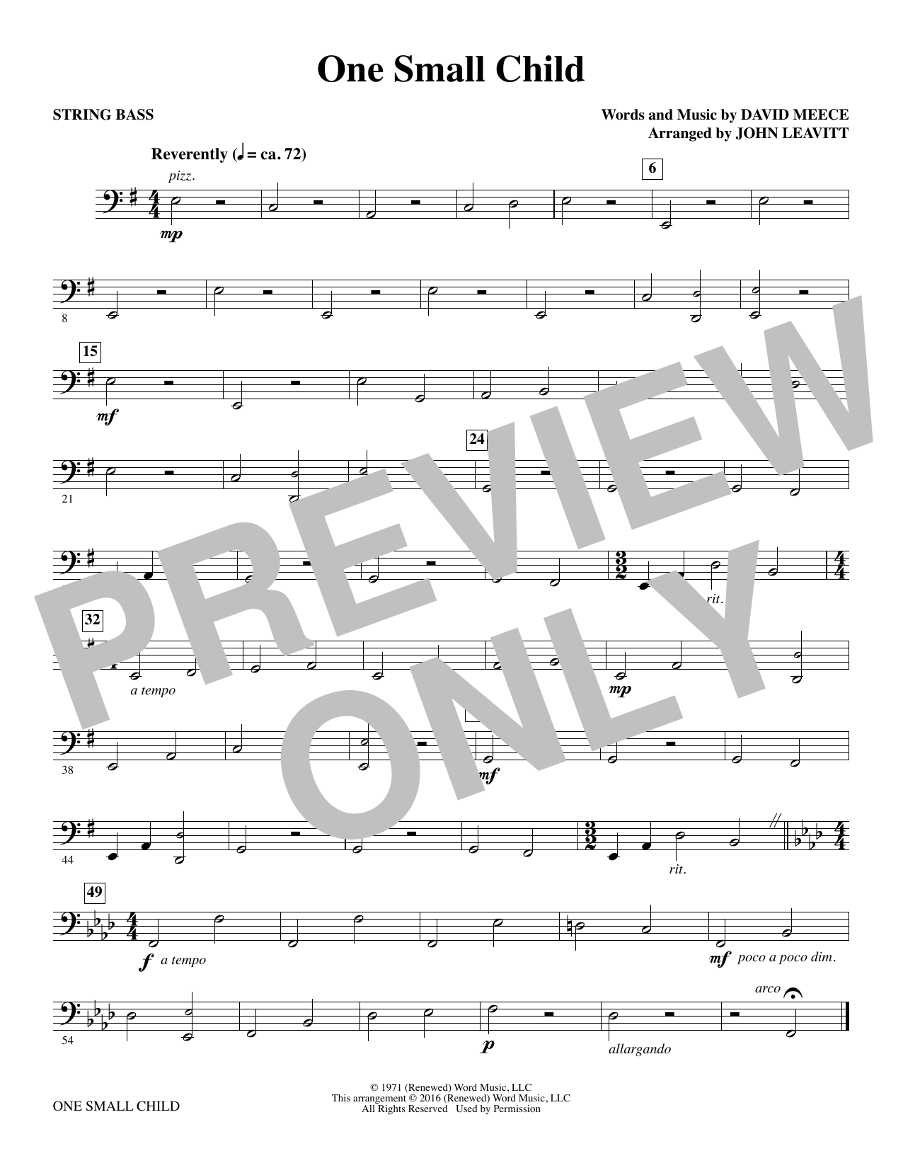 One Small Child - String Bass Sheet Music
