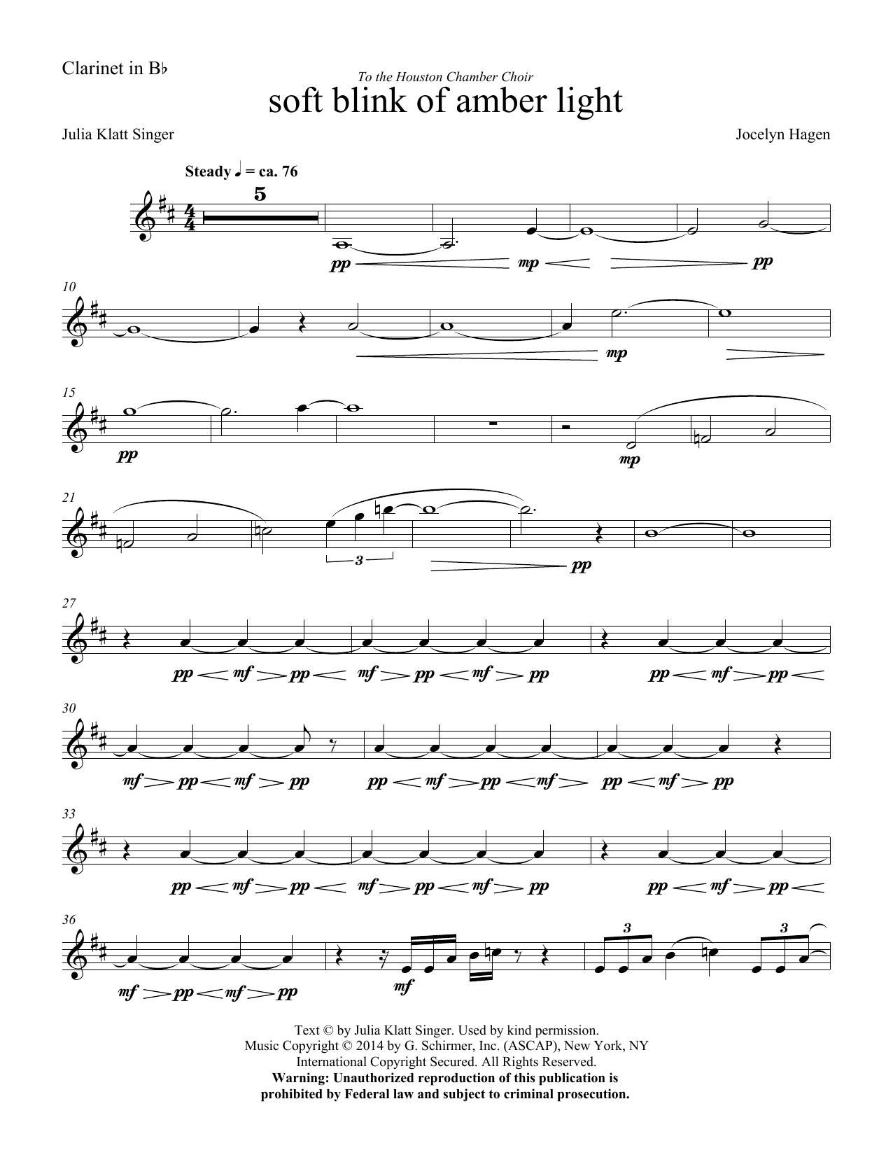 soft blink of amber light - Clarinet Sheet Music