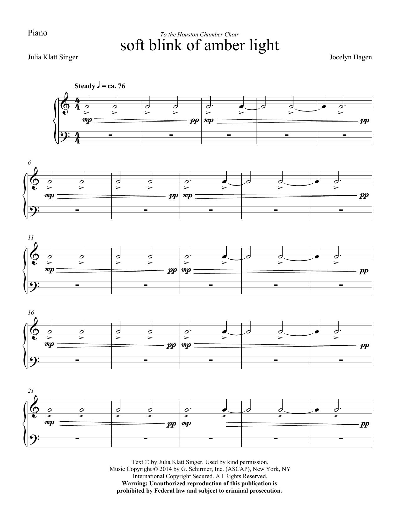 soft blink of amber light - Piano (Choir Instrumental Pak)