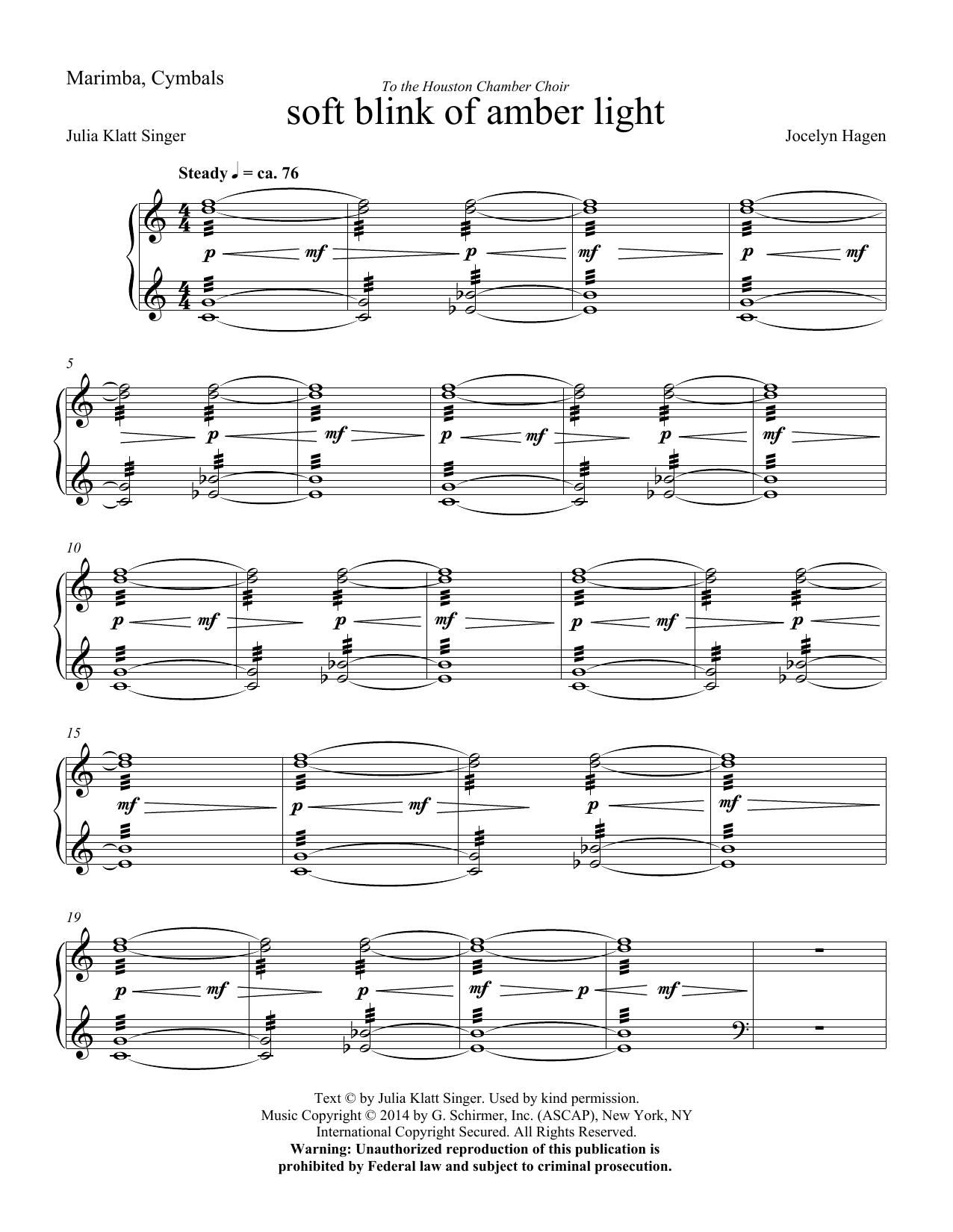 soft blink of amber light - Marimba (Choir Instrumental Pak)