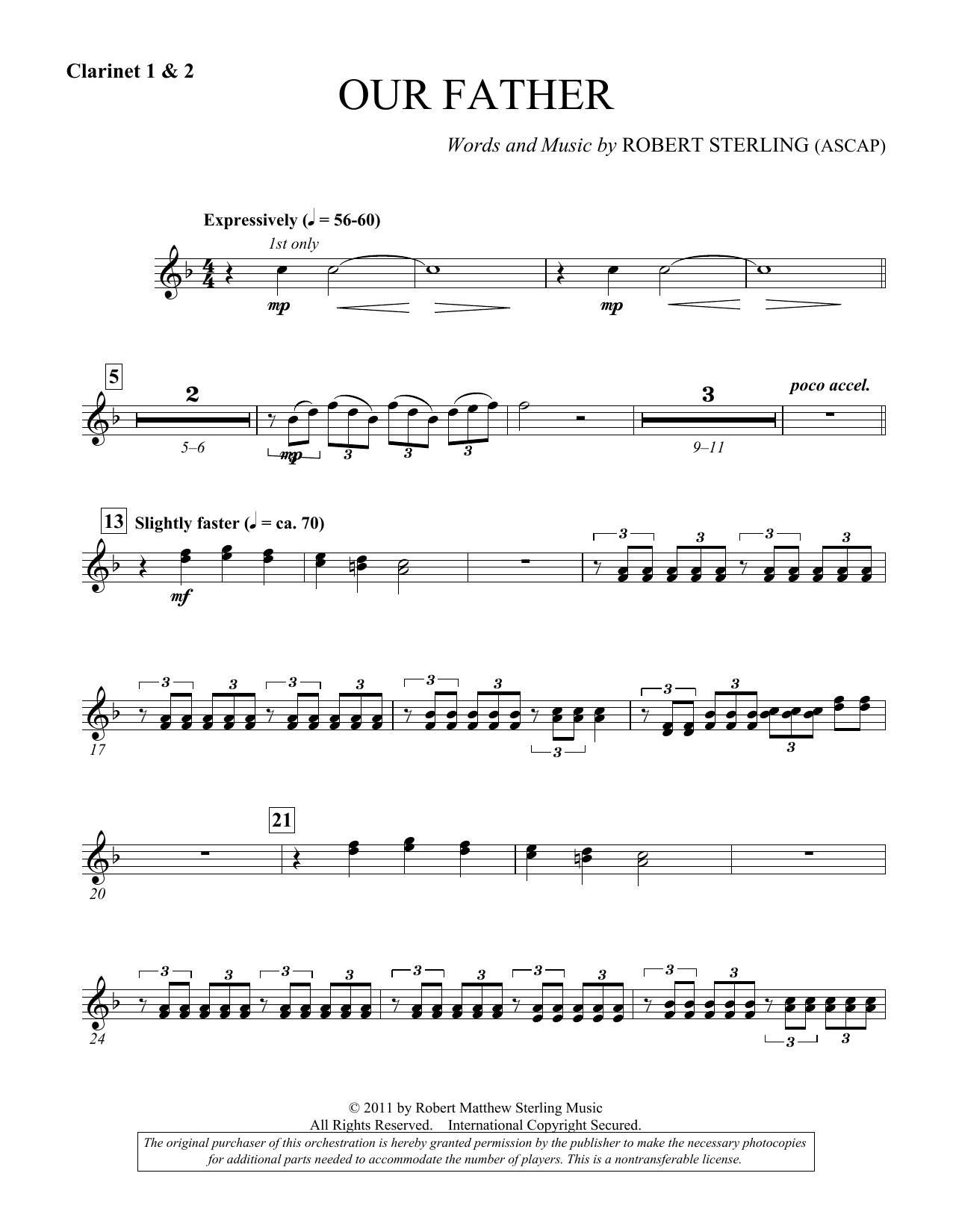 Our Father - Bb Clarinet 1,2 (Choir Instrumental Pak)