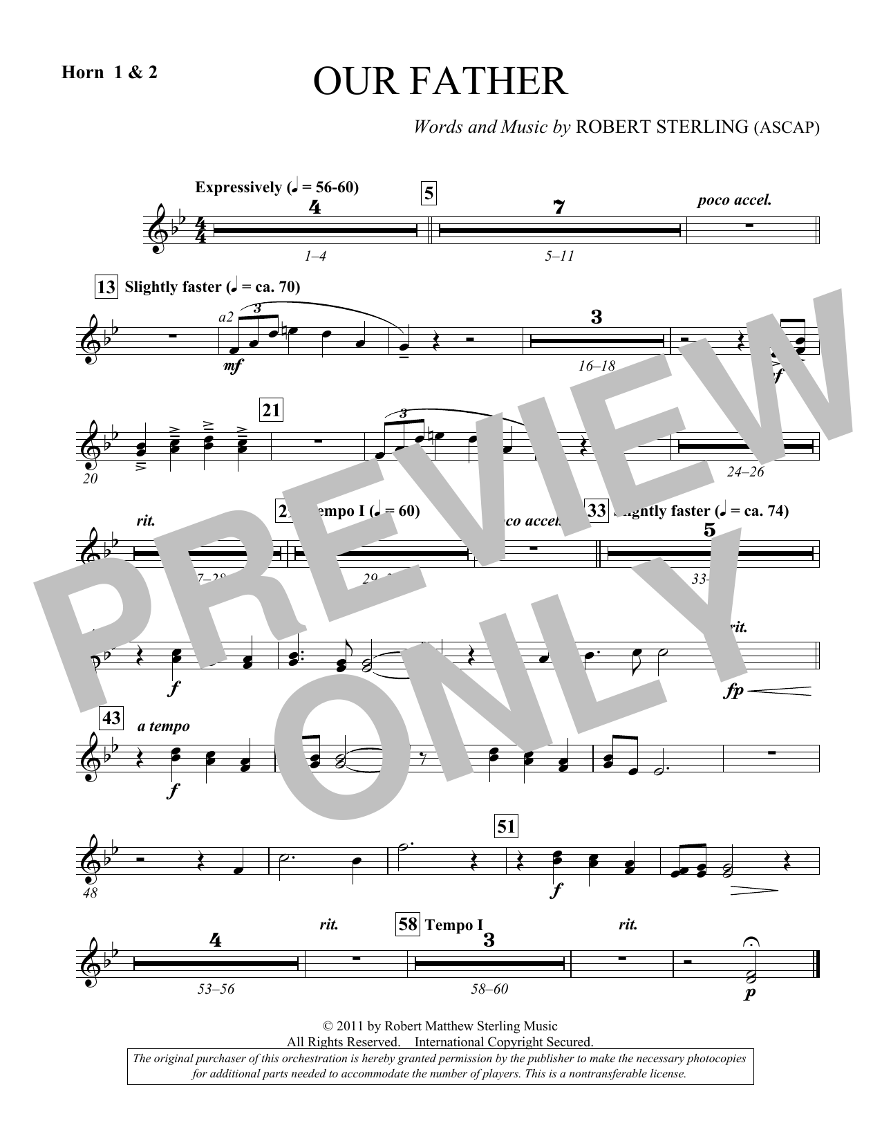 Our Father - F Horn 1,2 (Choir Instrumental Pak)