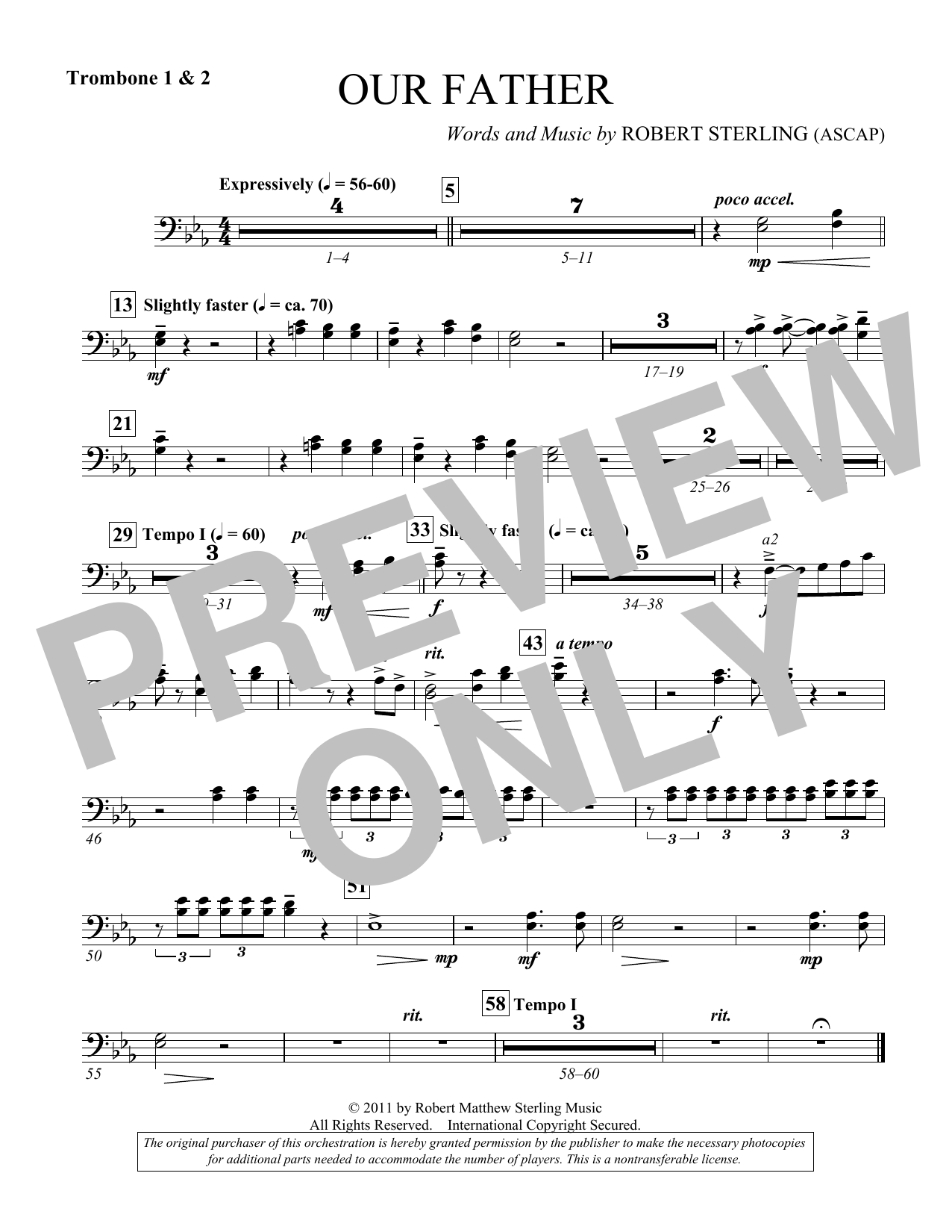 Our Father - Trombone 1 & 2 (Choir Instrumental Pak)