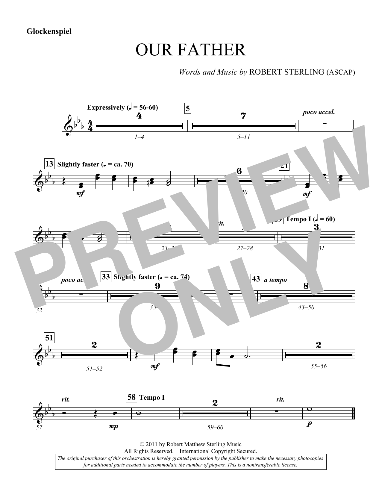 Our Father - Glockenspiel/Chimes (Choir Instrumental Pak)